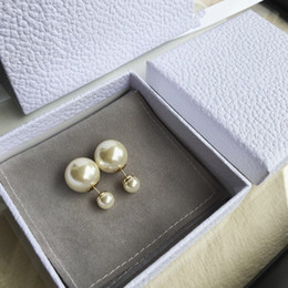 copper pearl earrings Promo Codes - wholesale have stamp Double Stud designer Earrings Before And After The Size Of The Pearl Personality Jewelry Bubble earrings top quality
