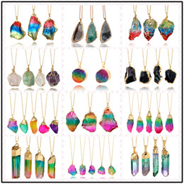 Wholesale Beads Chips - 18 Styles 3.8~10cm Natural Stone Chakra Beads Pendants Healing Necklaces Alloy Crystal Chips Choker DIY Jewelry