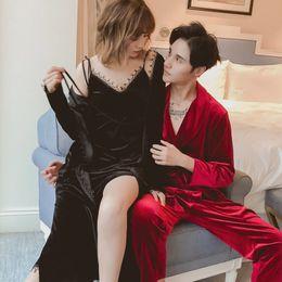 4761972f4a Vintage Women Men Velvet Nightgown Sleepwear Autumn Warm Robe Dress Gown  Kimono Lace Lounge Nightwear Pajamas