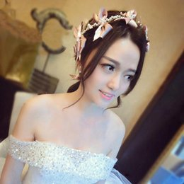 Vestido de novia morado blanco boda online-Novia coreana conjunto tiara arco Joyería de boda vestido de novia accesorios blanco y morado