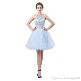 Meine Cocktailkleider Party Kleid 2018 Neue Sleeveless Backless Halfter Formale Kurze Zweiteilige Abendkleider Nach Maß Plus Größe 17-6638 von Fabrikanten