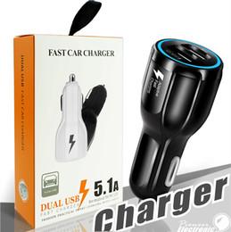 3.1a chargeur de voiture de détail en Ligne-Pour Samsung Galaxy S8 Iphone QC3.0 charge rapide 3.1A Chargeur de voiture Charge rapide Qualcomm Chargeur de téléphone USB double avec le paquet de détail