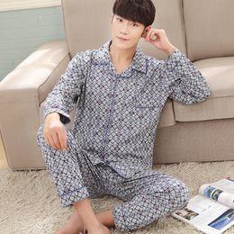 Wholesale Xxl Pajamas Men - Pajamas sets men spring and autumn pyjamas men sweat long sleeve pure cotton pajamas plus size M,L,XL,XXL,3XL pijama hombre