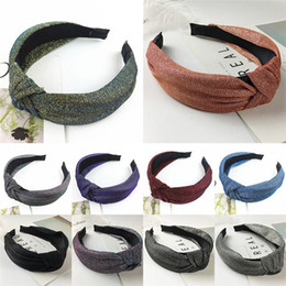 Mujeres Vintage Glitter Hairbands Girls Knitting Twisted Knot Headband Anchas Bandas de pelo Headwear Accesorios desde fabricantes