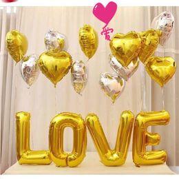 globos de compromiso Rebajas 27 pulgadas Love Rose Gold Silver Foil Letter Balloons Amor Globos Kit de Compromisos Duchas Nupciales Día de San Valentín Wedding Party Decoration