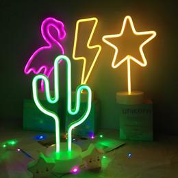 2019 luz de noche astronauta Wholsale Neon Sign Table LED Night Light Cactus Coconut Tree Christmas Tree Pineapple Neon Desk Lámpara de mesa Luz para Festival Party Deco