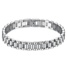 polish jewelry brands Promo Codes - Men Casual Brand Watch Wristband Bracelets High polishing Silver Stainless Steel Link Chain Bracelets Male Punk Jewelry Gift