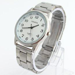 Wholesale alarm number - High Quality Old Men People Watch Big Number Clear Table Stainless Steel Bracelet Wristwatch Lover Watches Women Man Lady SN79
