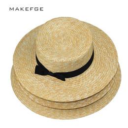 2019 chapeau de paille noir réglable Chapeau d'été pour femme Chapeau de plage plat en paille Chapeau d'été de Panama pour femme Snapback en paille