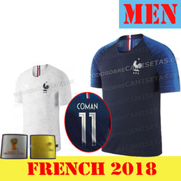 Wholesale Soccer Jersey France - Maillot de Foot Homme 2018 world cup French football shirt Camisetas Equipe de france White blue tenues Black national Soccer Jerseys Benzem