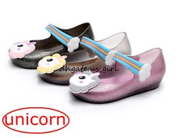 Wholesale Jelly Shoes For Babies - Unicorn ins Kids mini sed jelly sandals for baby unicorn children girls princess shoes cute cartoon transparent bling soft beach shoes