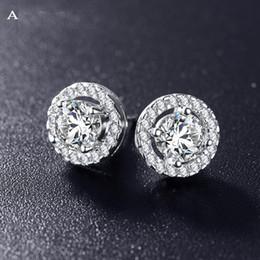 Wholesale Color Stone Earrings - Romantic Jewelry 2018 Stud Earrings For Wedding Elegant Silver Color AAA Cubic Zirconia Stone Earring CER0002-B