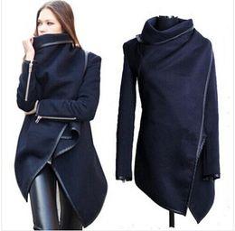 2019 abrigo de lana rosa con volantes venta al por mayor 2018 negro recién listado Autumn Spring Coat Womens Overcoat Temperament Slim Trench Design mujeres mezclas de lana S-XXL