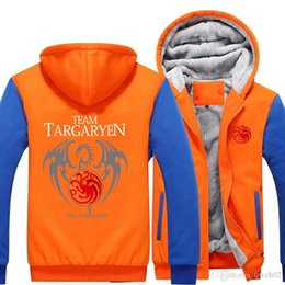 Wholesale Game Thrones 4xl - 2018 New Thickness Game of Thrones House Targaryen Jacket Sweatshirts Thicken Hoodie Zipper Coat USA size -K