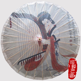 Wholesale Japanese Oil - Chinese Piano Lady Paper Umbrella Japanese Style Oiled Paper Parasol Pink Female Wedding Cosplay Props