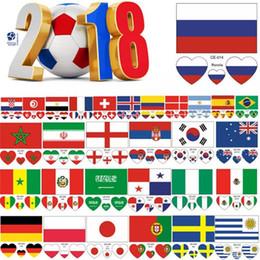 décorations de porte du nouvel an chinois Promotion 2018 Football Coupe Du Monde Autocollant De Tatouage Drapeau National Imperméable Bannières Coeur Autocollants Football Match Football Fans Visage Poignet Autocollant Tatouage