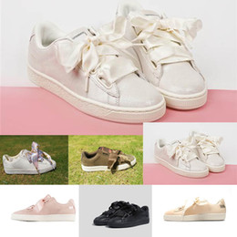 Wholesale Hot Pink Bow Ties - (With Box) Wholesale Hot Cheap New Summer X Fenty Bandana Slide Sneakers Shoes Women Bow Tie Green Pink Rihanna Sneakers Sports Shoes 36-40