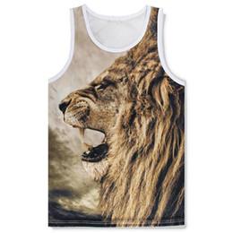 Gilet de lion en Ligne-Mode été / hommes / femmes 3d respirant débardeurs gilet imprimer Lion séchage rapide maille tees gilet