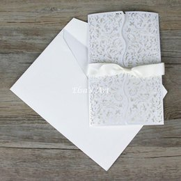 Wholesale Wedding Invitations Blank Inside - Wholesale- Wave style 30pcs lot Elegant White Hollow Flowers Wedding Invitation Cards with Envelope,Bow Seal,blank inside card