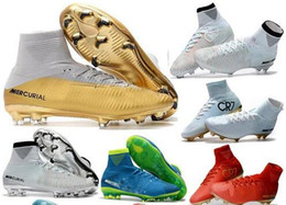 Wholesale Footbal Boots - Top Quality Kids Mercurial Superfly FG CR7 Vitórias Magista Obra Soccer Shoes Ronaldo Cleats Forged for Greatness Footbal Shoes Boots