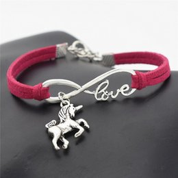 Braccialetto animale del braccialetto online-AFSHOR New Vintage Cute Animals Argento antico Lucky Horse Unicorn Charms Infinity Love Bracciale in pelle Bangles per le donne Regali Accessori
