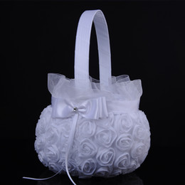 Wholesale Bowknot Case - 2018 Wedding Ceremony Party Love Case Satin Bowknot Rose Flower Basket for Women Girl DIY Home Decoration Storage Bag Container
