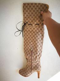 botas sobre la rodilla marcas Rebajas Botas de marca con estilo de G de lona para mujer Botas sobre la rodilla Botas de cuero de señora con ribete de cuero de diseñador Dama suela alta