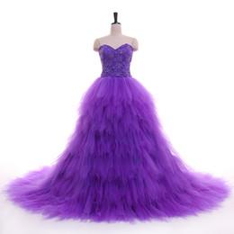 Splendidi abiti da quinceanera Ball Gown Prom Dresses Pieghe TUlle con pizzo Verde scuro, viola, rosso, fucsia Prom Dress Sweep Train 2018 da
