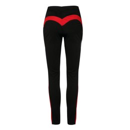 Wholesale mark side - Honey peach Heart Pattern Sexy Hips Women Yoga Pants Fitness Gym Tights With Side line Yoga Legging Sport Running Trousers