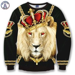 Wholesale Long Neck Chains - Hip Hop Hot sell Men women's casual hoodies print Crown Lion King Chain 3d sweatshirts slim street wear sudaderas