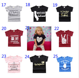 Wholesale 3t Tops - 25 Styles New Baby Girls Boys Summer T Shirt INS Kids Letter Printing Soft Cotton Short Sleeve Top Tees