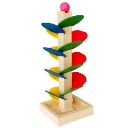 Wholesale Wholesale Wooden Tracks - Baby Toy Blocks Wooden Tree Marble Ball Run Track Game Kids Children Intelligence Wooden Toys Creative Ball Tree Game Stitching Desktop Toys