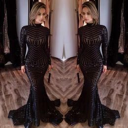 0a2726a49 2018 sirena de lentejuelas brillantes calientes vestidos de noche negros  Cuello alto Mangas largas Longitud del piso Árabe Formal Barato Prom  vestidos de ...