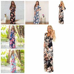 Wholesale long sleeve floral maxi - Boho Women Maxi Dresses Navy V Neck Long Sleeve Women Elegant Floral Long Party beach Maternity Dresses