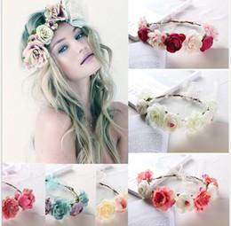 blaue perlengirlande Rabatt 6 Farben Neue Böhmen Handgemachte Blume Crown Hochzeit Kranz Braut Kopfschmuck Stirnband Haarband Haarband Zubehör