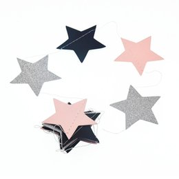 Wholesale Paper Hanging Star - Wholesale-Wall Hanging Paper Star Garlands 2m Kids Birthday Wedding Party Decoration Supplies Child's Room Banner Decor