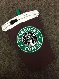 2019 starbucks para iphone YunRT New Cute 3D Cartoon Starbucks Coffee Cartoon Estilo único Funda de silicona suave para iPhone starbucks para iphone baratos