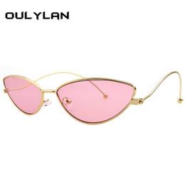 Óculos bonitos quadros marcas on-line-Oulylan 2018 Bonito Sexy Cat Eye Óculos De Sol Das Mulheres Dos Homens de Metal Frame Retro Pequeno Cateye 90 s Óculos de Sol Marca Designer Goggle UV400