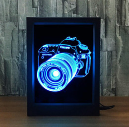 Wholesale Digital Wedding Cameras - Novelty Birthday Gift USB Digital Camera Shaped Photoframe Decorative Night Light LED 7 Colors Creative Bedside Acrylic Table Lamp Light