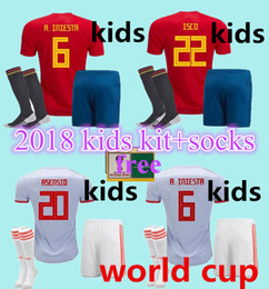 Wholesale home free - thai top kids kit +socks ASENSIO MORATA ESPANA Spain home away soccer jerseys world cup 2018 RAMOS INIESTA kids free patches football shirt