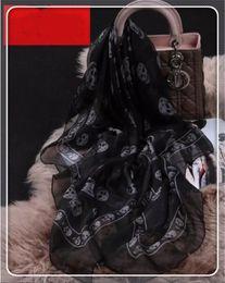 Wholesale Skull Top Womens - Hot Selling Top Quality Classic European Designer Womens Skull Print Silk Scarf Elegant Ladies Wrap