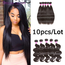 Top Quality 8A Prix de gros Body Wave Style droit 10 Bundles Lot Indien Malaysian Péruvien Extensions de Cheveux Humains Par Dream Queen ? partir de fabricateur