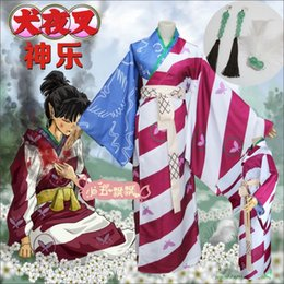 Wholesale inuyasha cosplay costumes - [STOCK] 2018 Anime Inuyasha Kagura Cosplay Costume New version Printed Kimono Suit Dress For Women Halloween New.