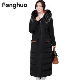Wholesale women winter long coats cheap - Fenghua 2017 Casual Fashion Winter Coat Women Hooded Fur Pocket Collar X-Long Cotton Parka Warm Thick Cheap Down Jacket Ukraine