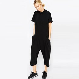 893178d04ae 2018 summer black rompers womens jumpsuit Elegant side pocket loose-fitting  combinaison femme Romper overalls jumpsuit for women