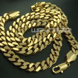 Ringe ketten schmuck online-18 Karat Gold gefüllt Herren solide Kette lange Halskette Curb Ring Link Schmuck N227