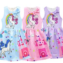 2019 crianças vestidos de festa meninas Novo bebê meninas unicórnio vestidos de crianças vestidos de verão sem mangas 3 cores crianças meninas roupas bonito vestido de festa para 3-8 t crianças vestidos de festa meninas barato