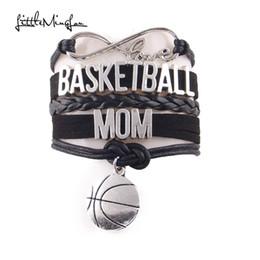 braccialetto di pallacanestro di cuoio Sconti Little Minglou Infinity Love BASKETBALL MOM bracciale Bracciale in pelle di pallacanestro per bracciali con ciondoli in pelle da donna