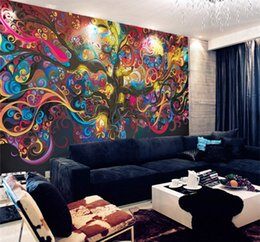 Wholesale Pictures Kids Bedrooms - Stereo and large adornment picture Character abstract wallpaper tree of life Seamless non-woven silk wallpaper murals