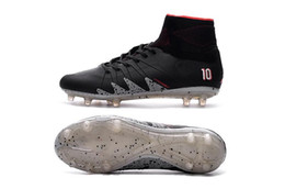 Wholesale Coffee Mesh - New Soccer Cleats 2018 Neymar JR Hypervenom Phantom II TF Soccer Boots Coffee Black Football Shoes CR7 Soccer Cleats Indoor Shoes